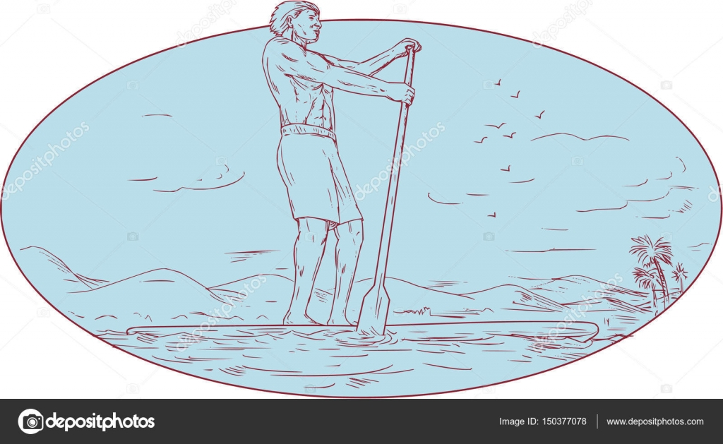 Guy Stand Up Paddle Tropical Island Oval Drawing Stock Vector