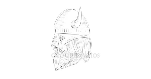 Viking válečník Head rotační 2d animace černá a bílá