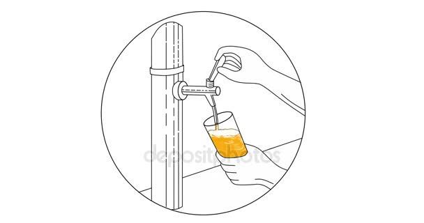 Ruka drží sklo nalil pivo z kohoutku 2d animace