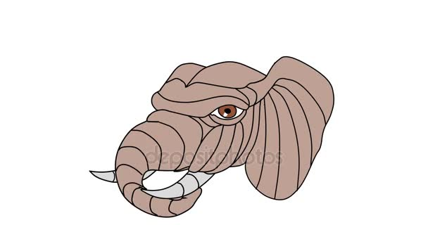 Elefánt fej játszó törzs 2d animáció
