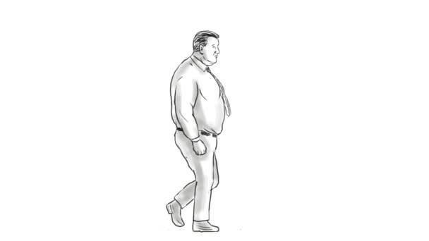 Obese Man Morphing Into Fit Man Walking 2D Animation