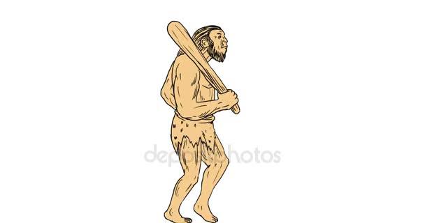 Neandertaler Höhlenmensch Seite 2d Animation
