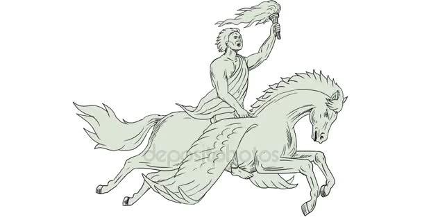 Bellerofonte a cavallo Pegasus Holding torcia animazione 2d