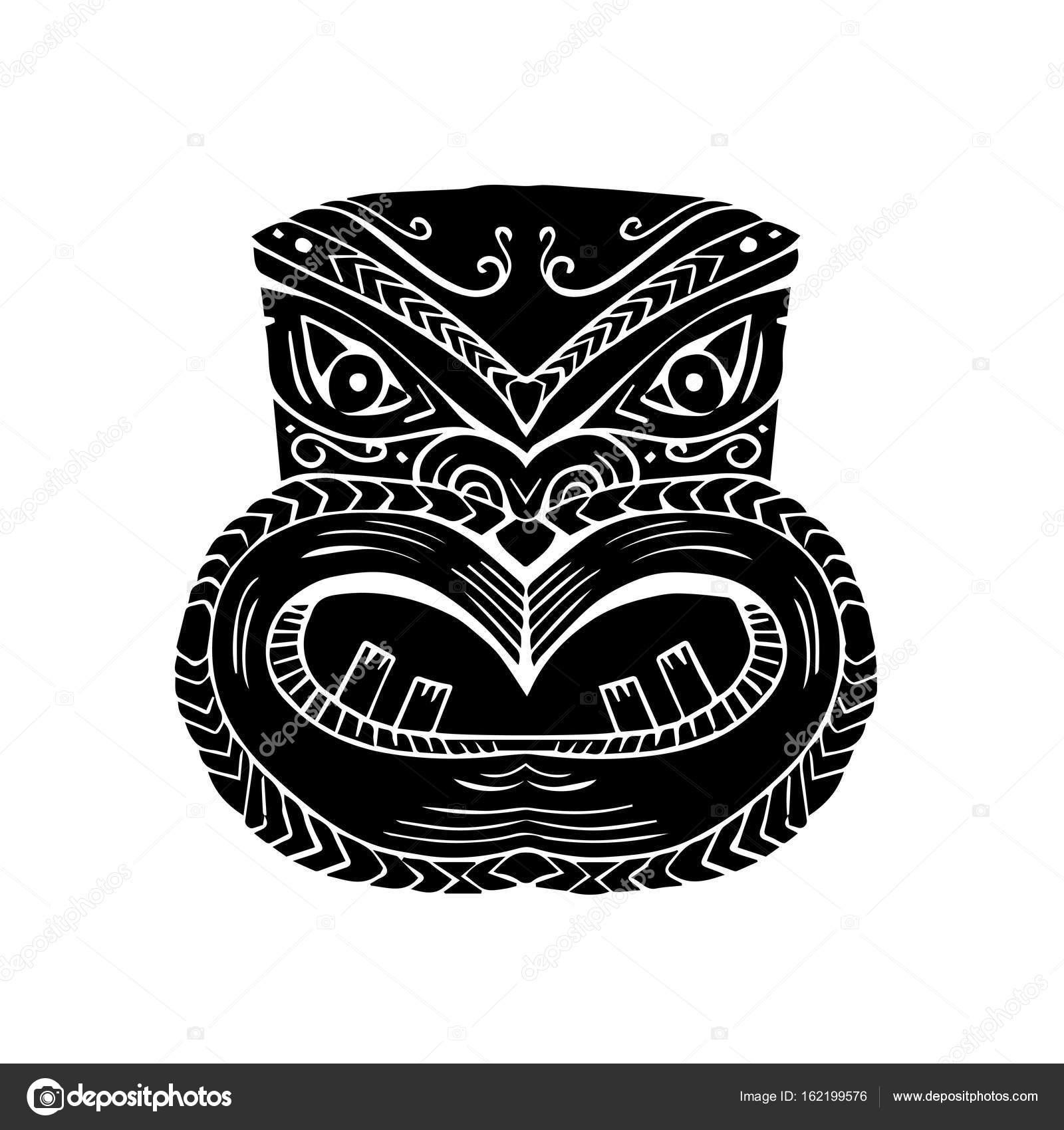 new zealand maori koruru tiki mask woodcut stock vector
