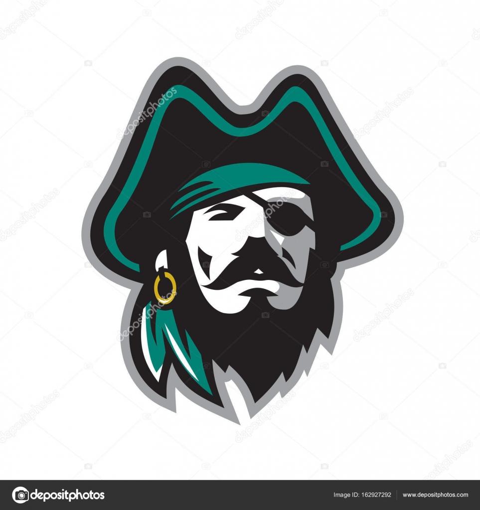 Con frente de sombrero de tres picos de parche ojo pirata — Vector ...