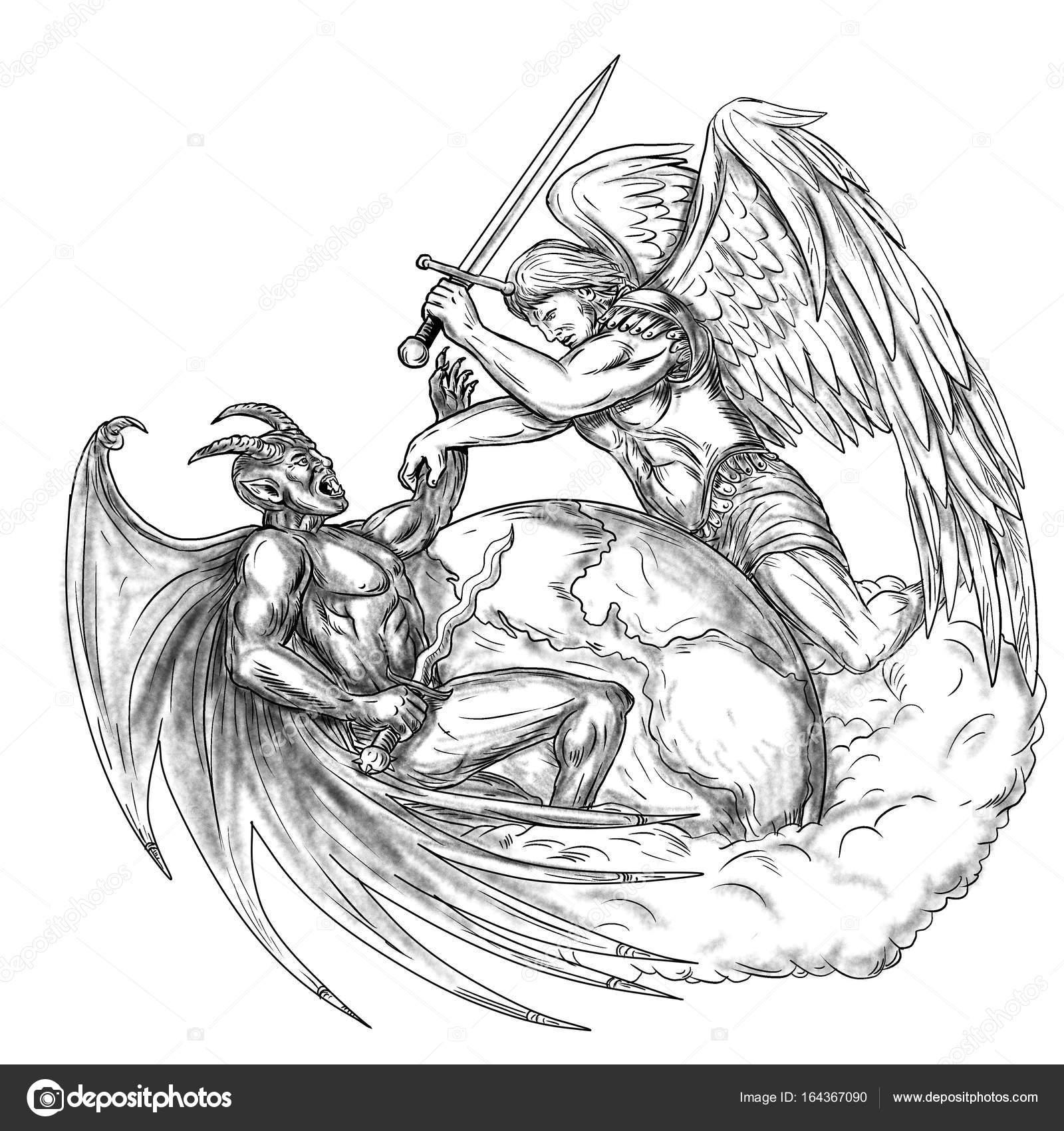 Foto Tatuaje Angel Angel Lucha Contra El Demonio Sobre La Tierra