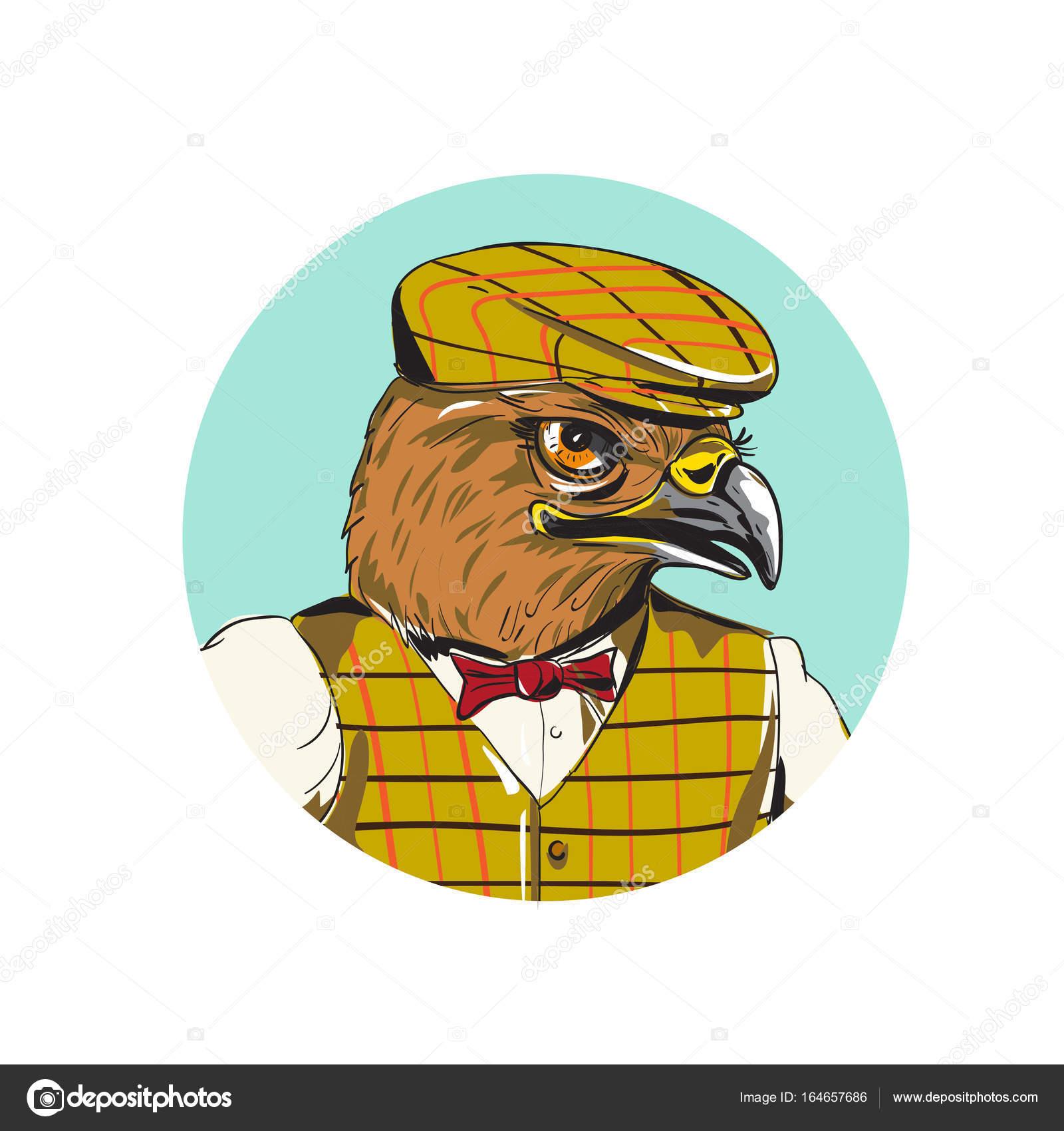 Hawk Englische Outdoorsman Kopf Kreis Zeichnen Stockvektor