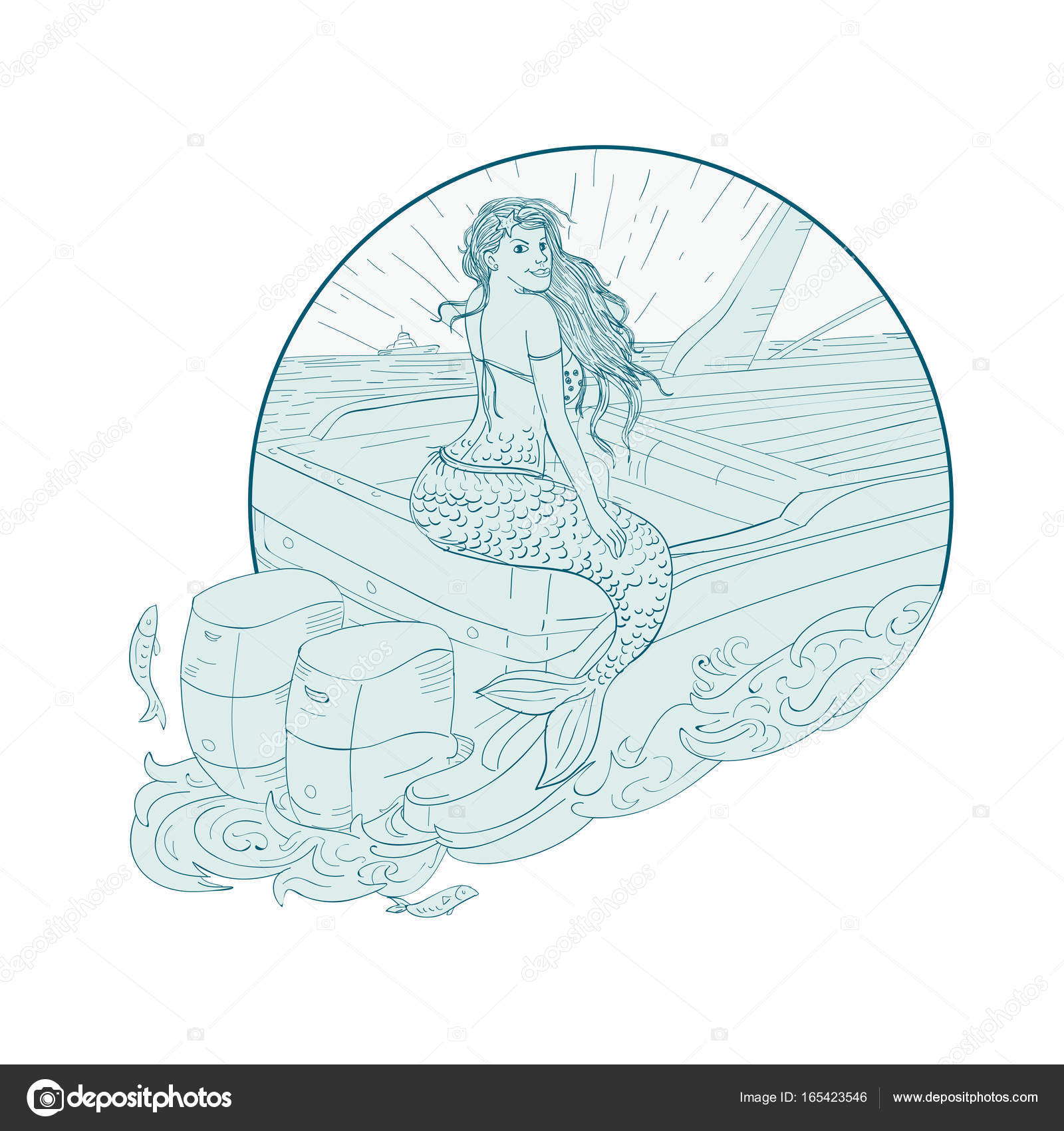 Mermaid Sitting On Boat Mermaid Sitting On Boat Drawing Stock