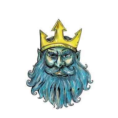 Neptune Trident Crown Head  Woodcut