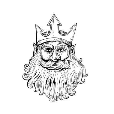 Poseidon Wearing Trident Crown Woodcut