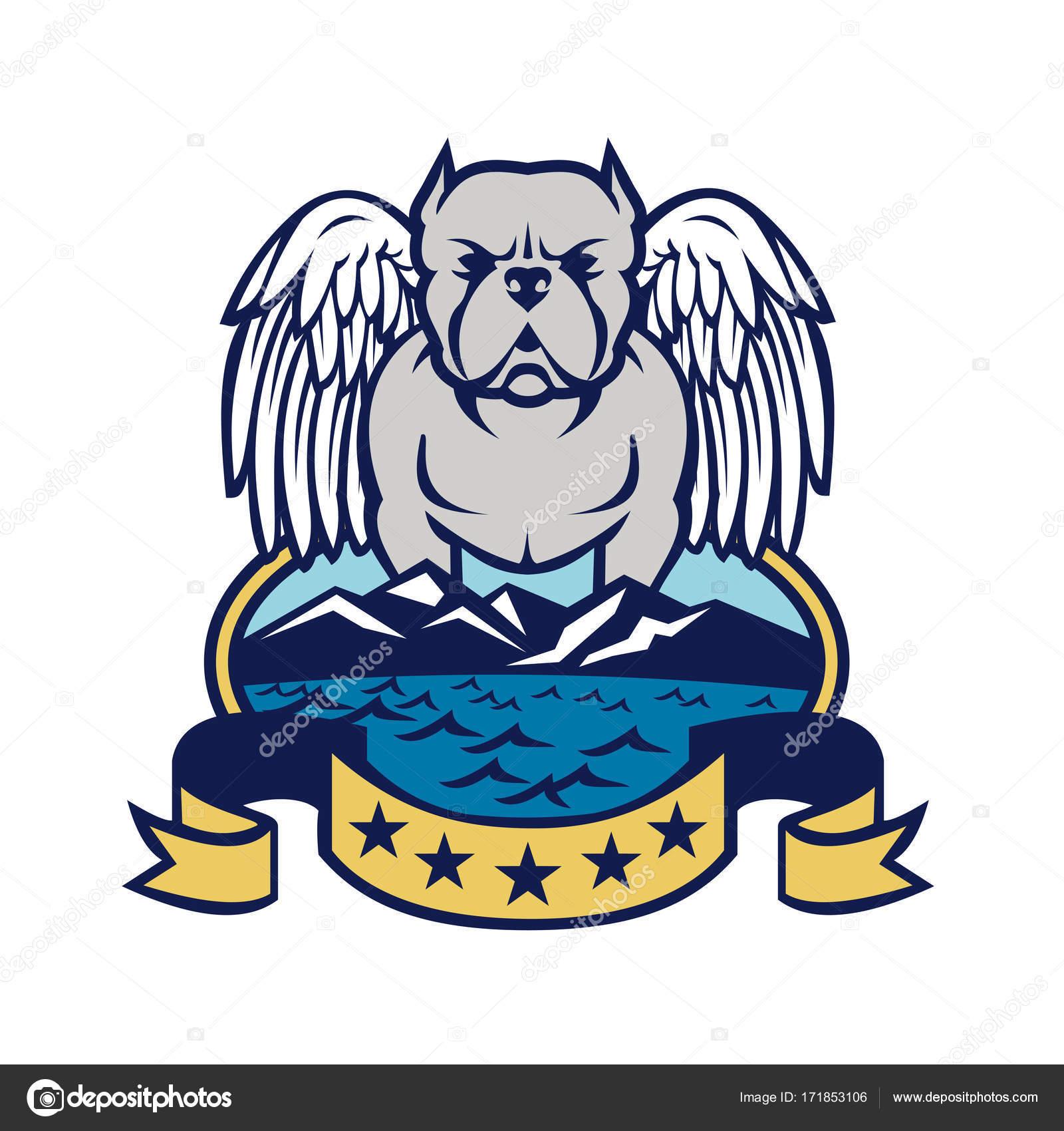American bully dog angel wings island stock vector patrimonio american bully dog angel wings island stock vector biocorpaavc