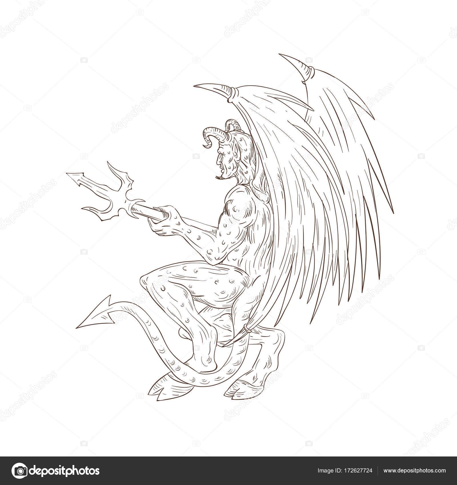 Demonio con tridente dibujo — Archivo Imágenes Vectoriales ...