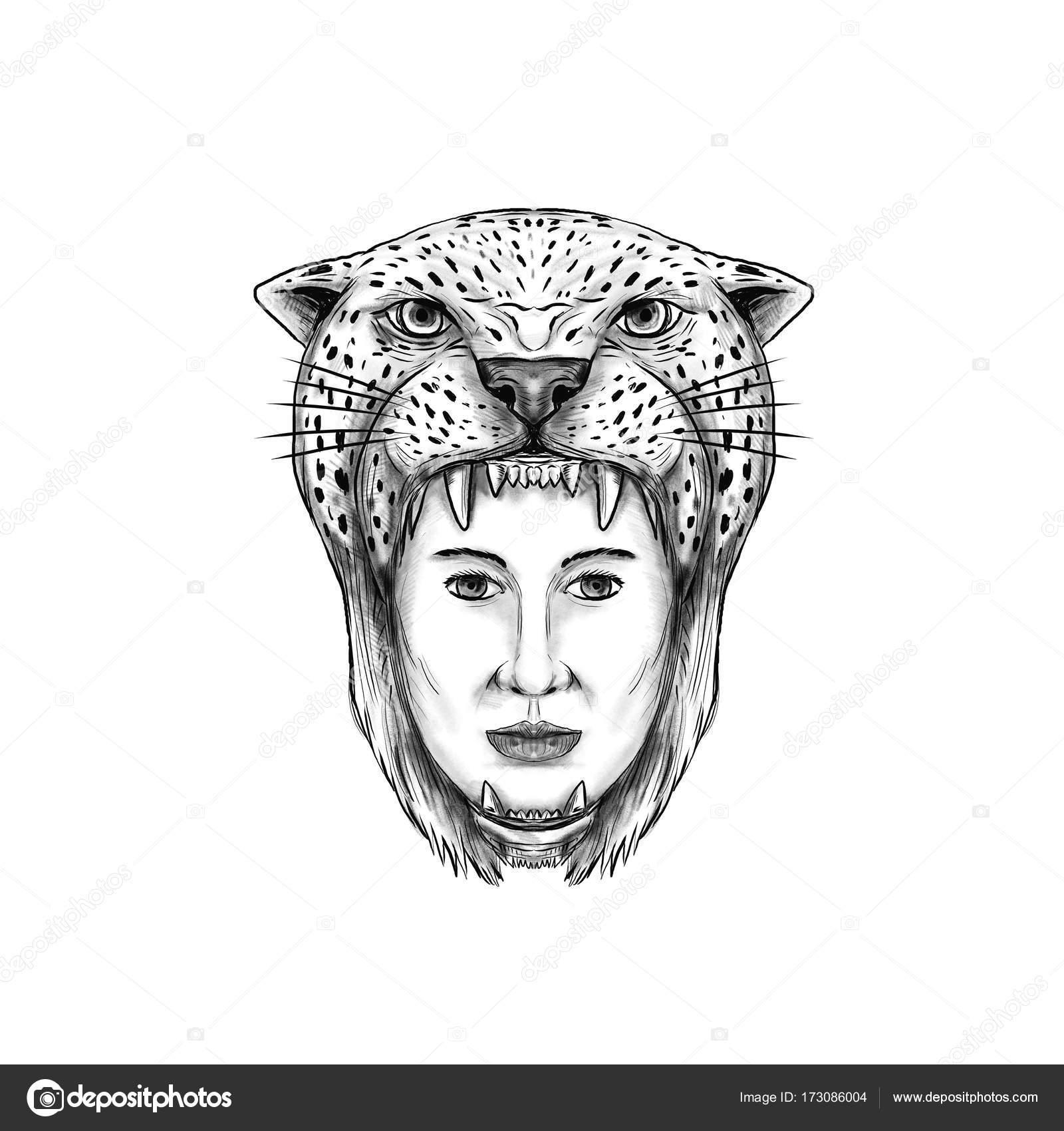 Amazon Guerrero Jaguar Tocado Tatuaje Fotos De Stock Patrimonio