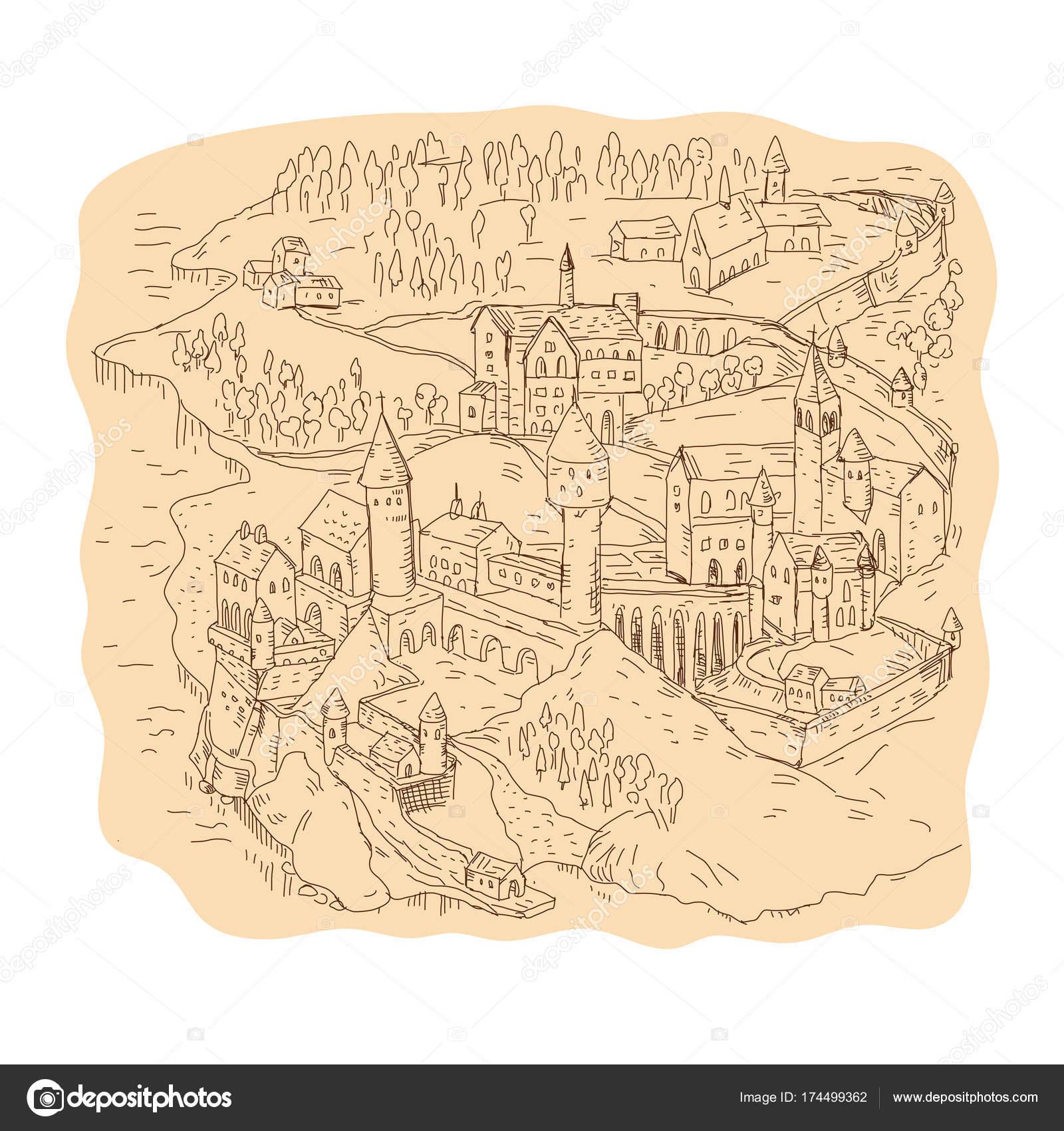 Fantasy Karte.Mittelalterliche Fantasy Karte Zeichnung Stockvektor Patrimonio