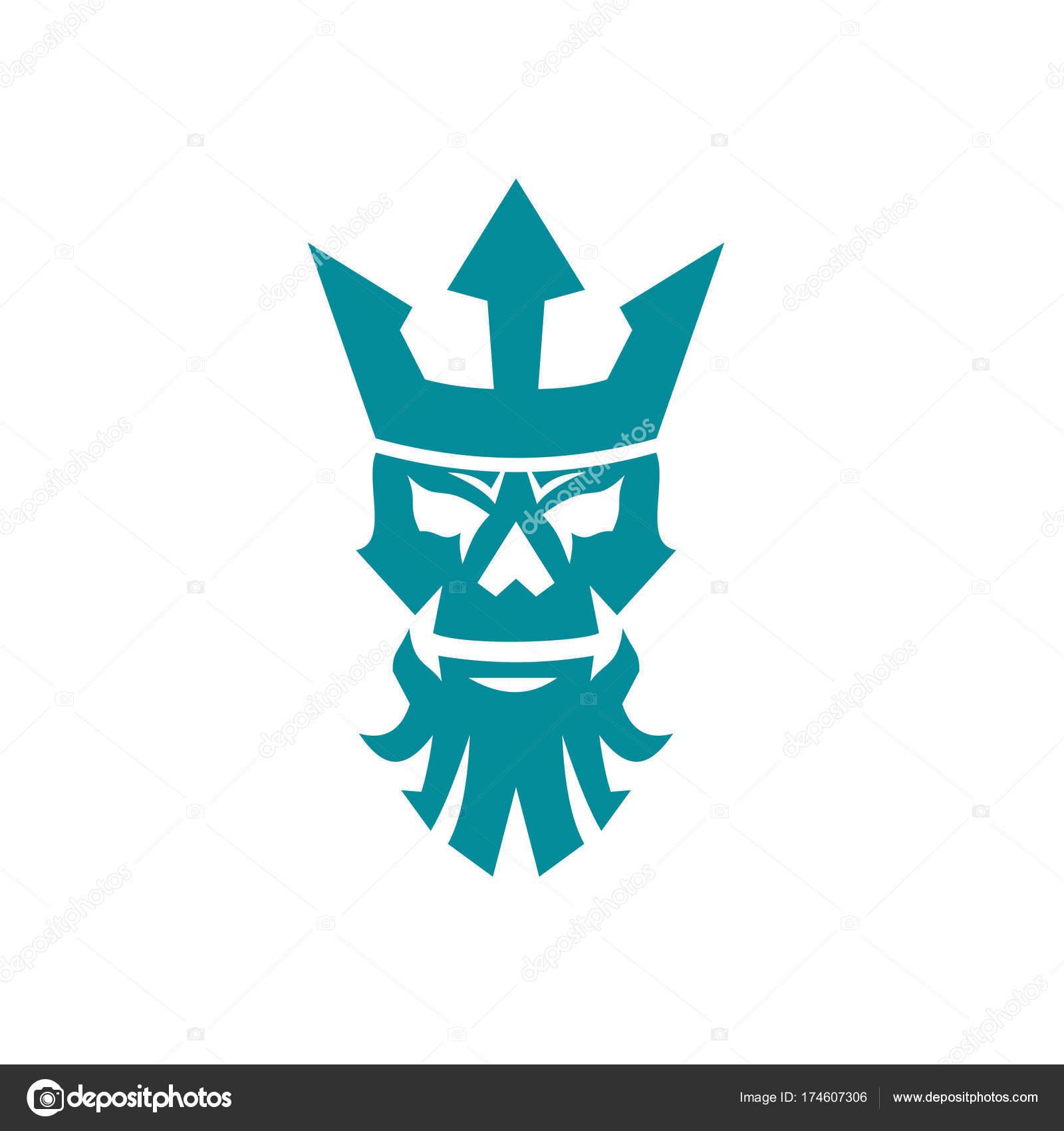 ポセイドンの頭蓋骨を着て王冠アイコン ストックベクター Patrimonio
