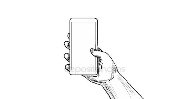 2D animace pohybu grafiku ukazující ruka drží mobilní telefon nebo mobilní telefon v styl kreslení na obrazovce bílou obrazovku, zelený s Alfa podkladu v rozlišení 4k ultra vysoké rozlišení