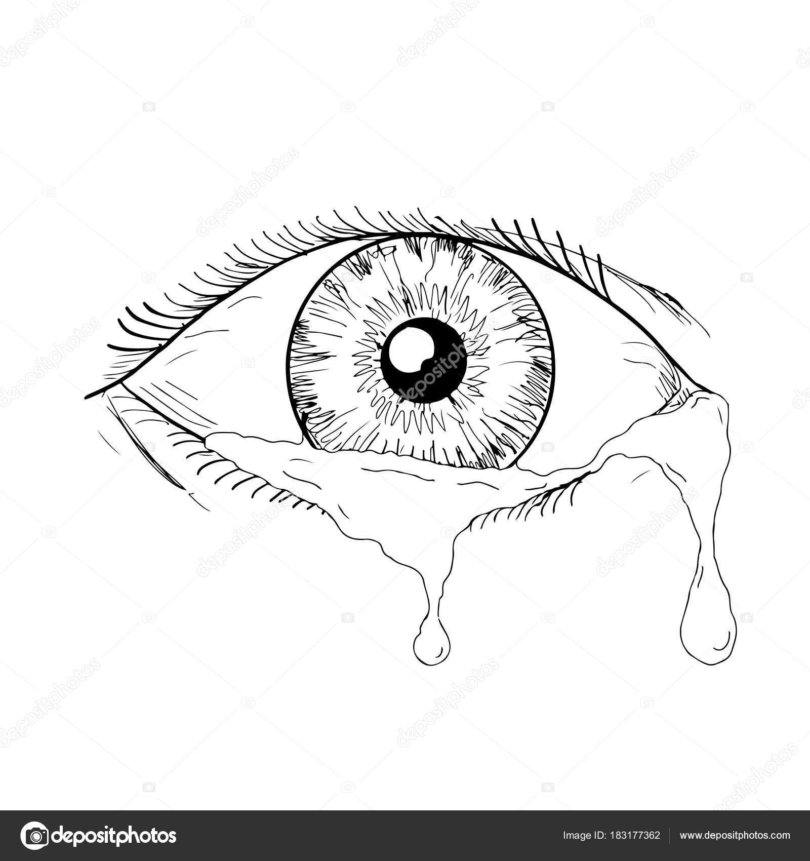 Dibujos Ojos Llorando Dibujo Ojo Humano Llorando Lágrimas Que