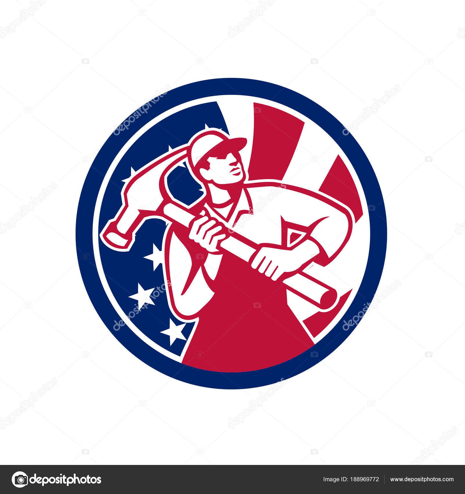 Tischler Zeichen amerikanische handwerker usa flaggen symbol stockvektor