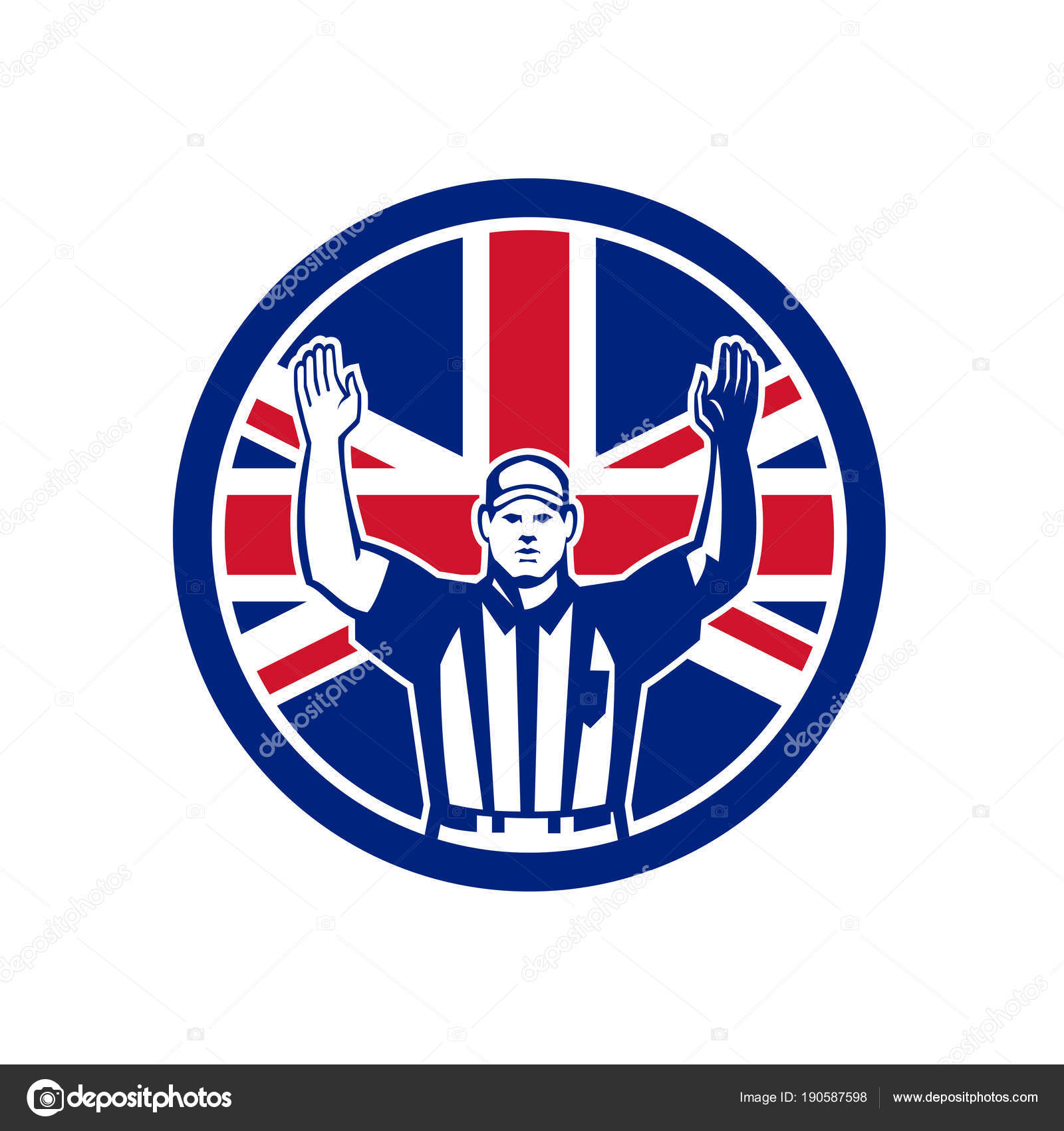 British American Football Schiedsrichter Union Jack Flag Icon ...