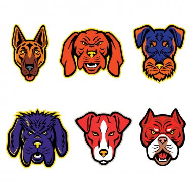 Mascot icon illustration set of heads of working or hunting dogs like the German Shepherd, Hungarian Vizsla, Jagdterrier, Newfoundland Dog, Plummer Terrier and Red Tiger Bulldog  viewed from  on isolated background in retro style.