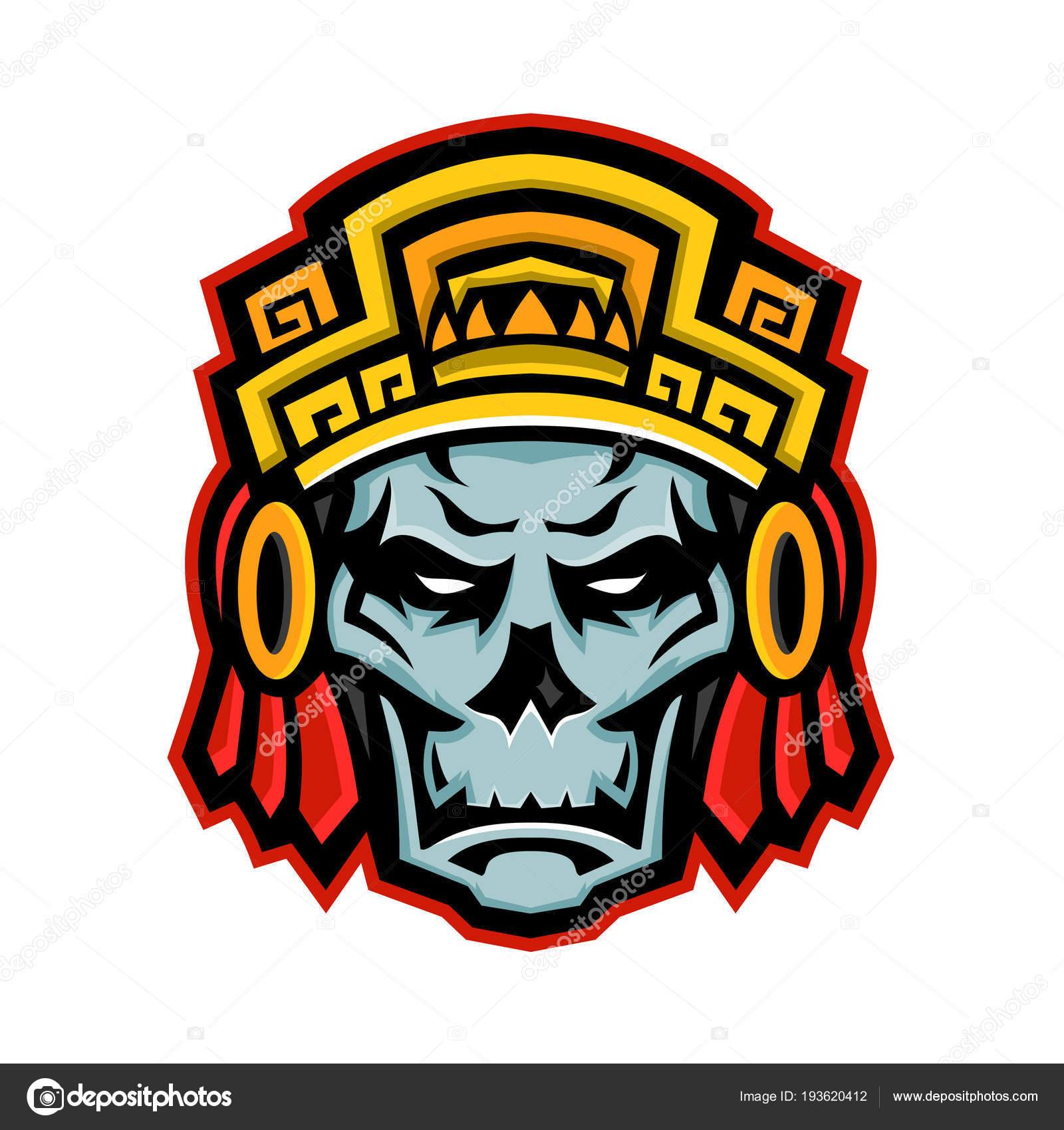 Mascota Cráneo De Guerrero Azteca Archivo Imágenes Vectoriales