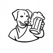 Ikona sportovního maskota ilustrace anglického laboratorního psa nebo labradorského psa držícího přípitek na pivo shlížejícího zepředu na izolovaném pozadí v černobílém retro stylu.