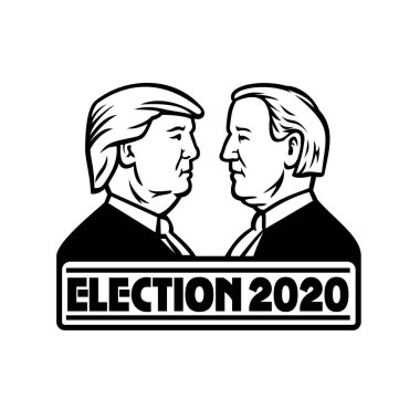 Black and White Mascot illustration of American presidential candidate for 2020 US election, Republican Donald Trump and Democrat Joe Biden on isolated background in retro style.