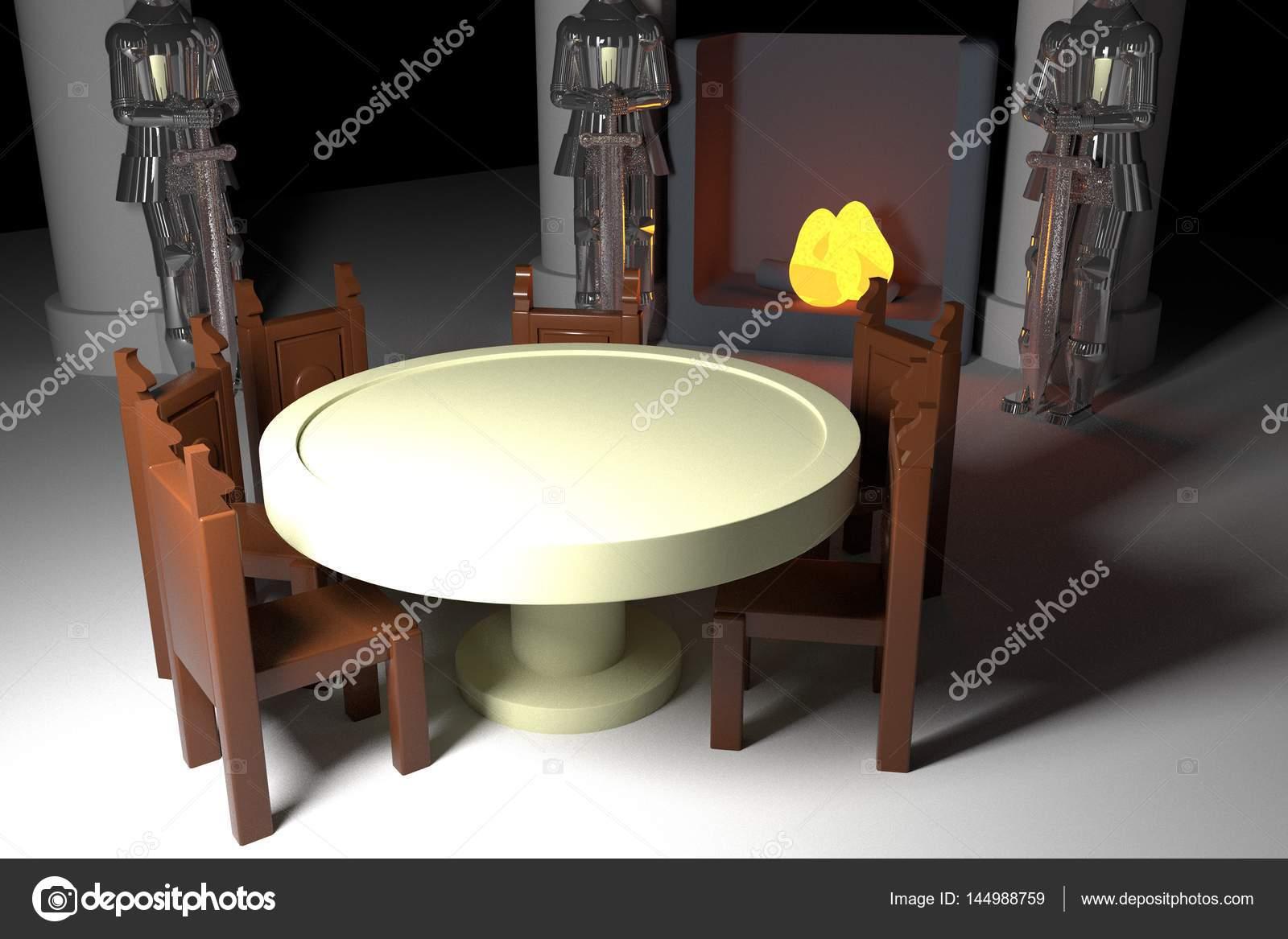 Tafel Met Haard : Ronde tafel met armors en open haard u2014 stockfoto © koufax73 #144988759