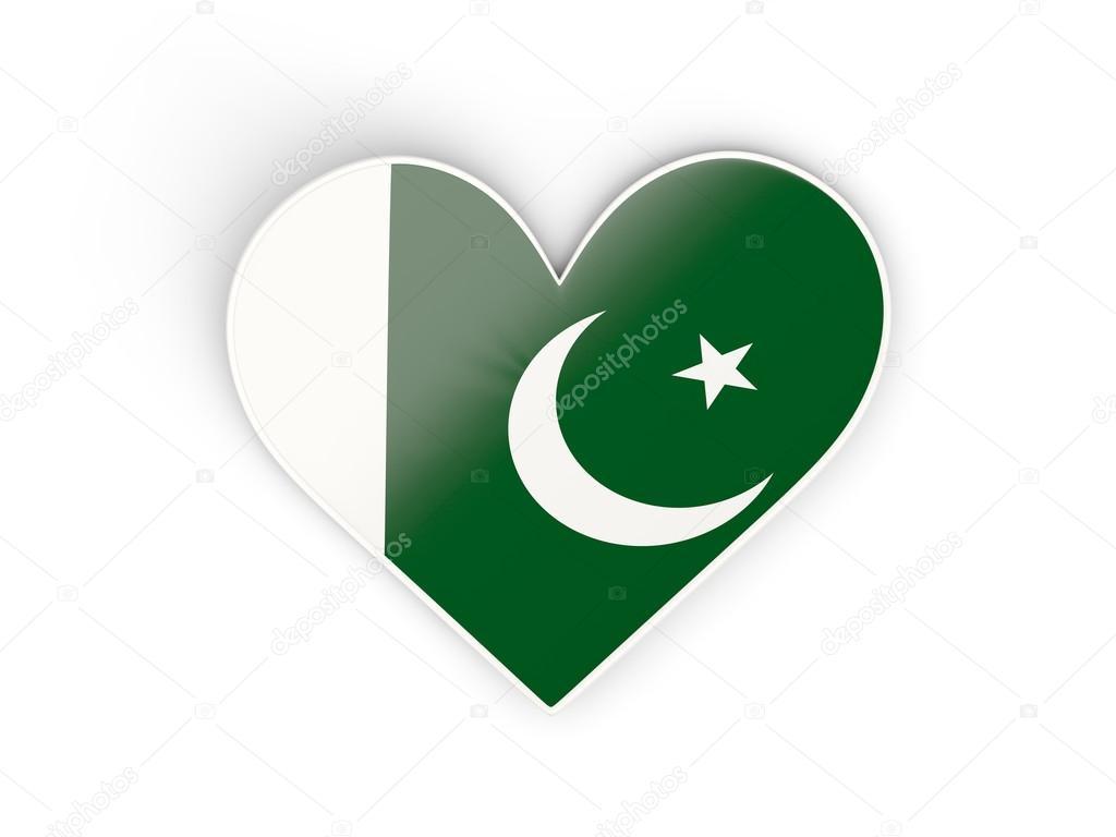 Drapeau du pakistan autocollant en forme de coeur isolé sur blanc illustration 3d image de mishchenko