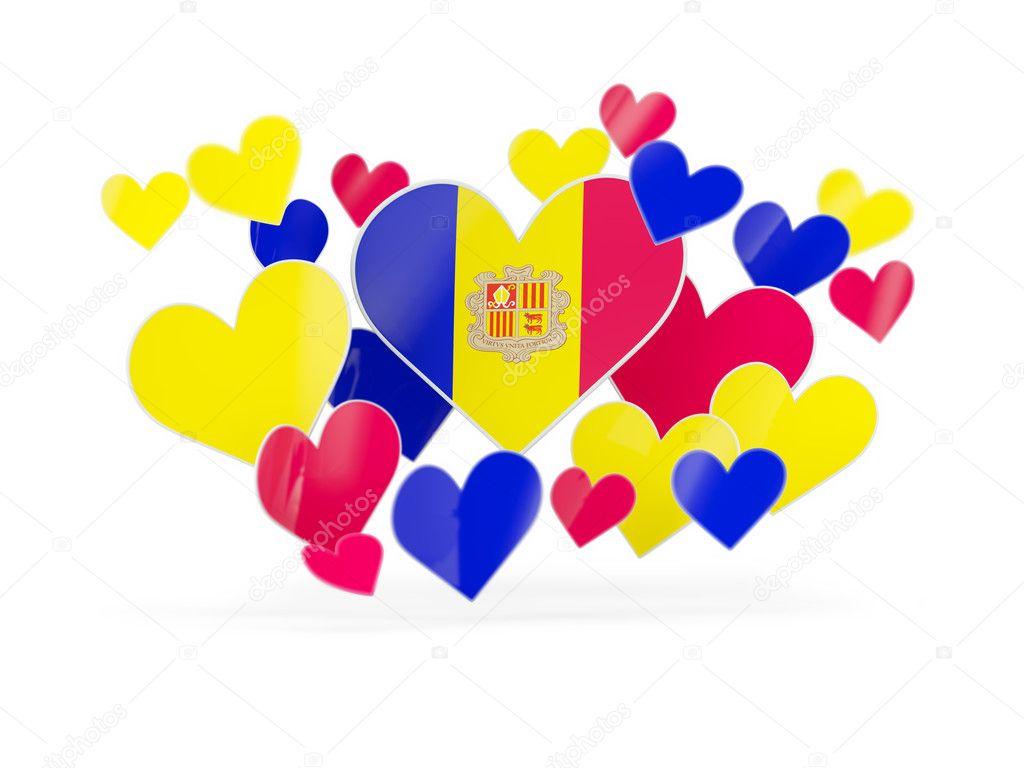 Flag of andorra, heart shaped stickers — Stock Photo © Mishchenko ...