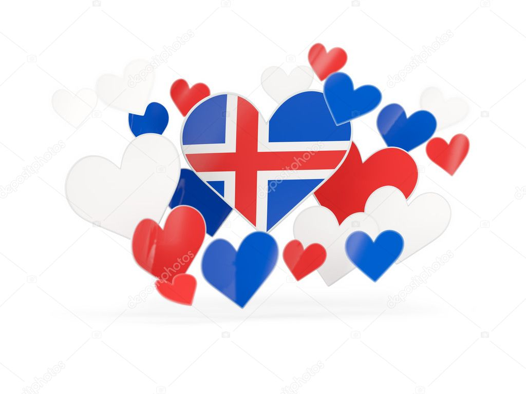 Flag of iceland heart shaped stickers stock photo