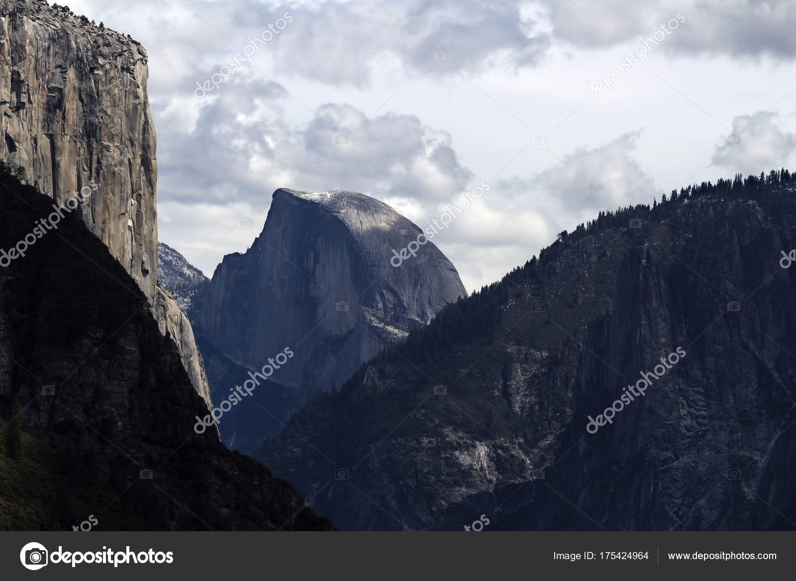 view of halfdome and el capitan cloudy day — stock photo © jeffwqc