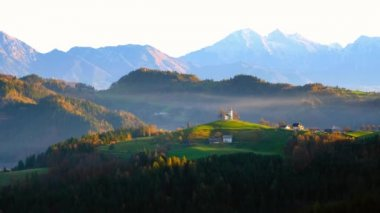 Picturesque church of Sveti Tomaz on the top of the hill in central Slovenia.