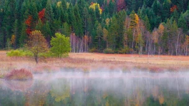 Geroldsee Ansicht im Herbst mit nebligen Sonnenaufgang in Bayerische Alpen, Bayern, Deutschland.