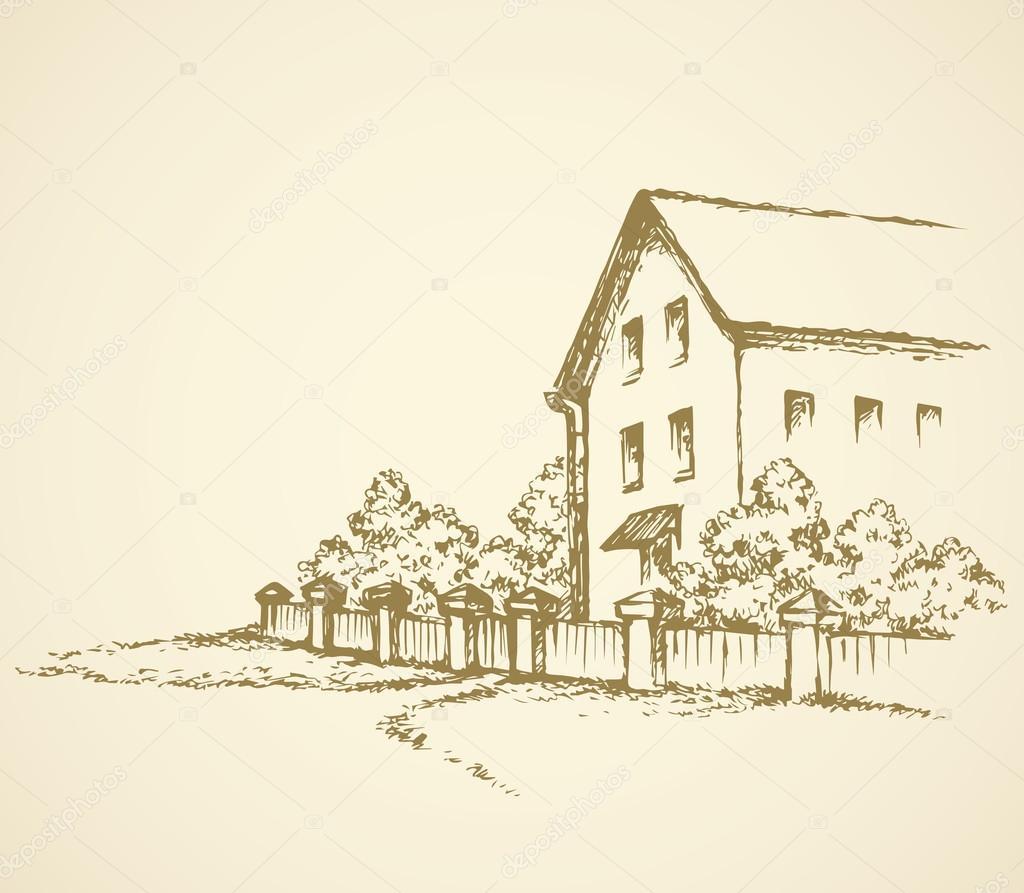 Eski Evin çitin Arkasında Vektör çizim Stok Vektör Marinka
