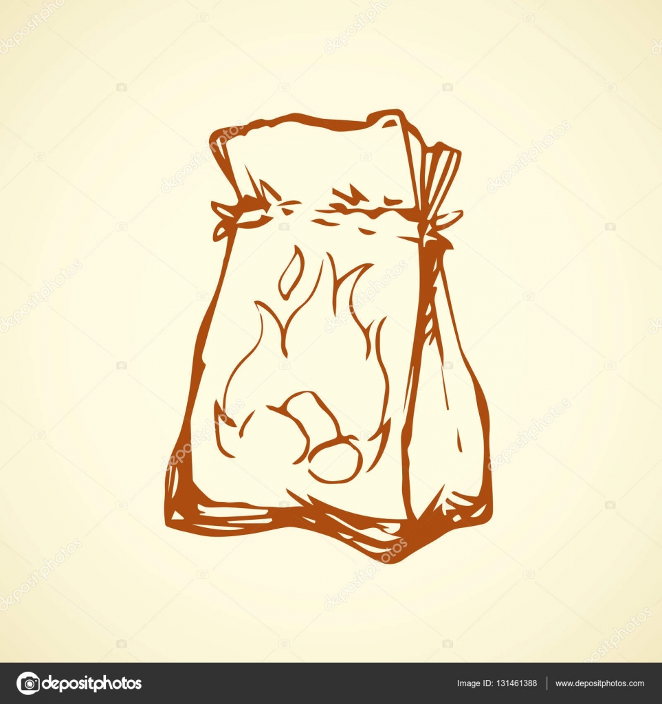 Paper bag vector - Paper Bag Vector Drawing Stock Vector 131461388