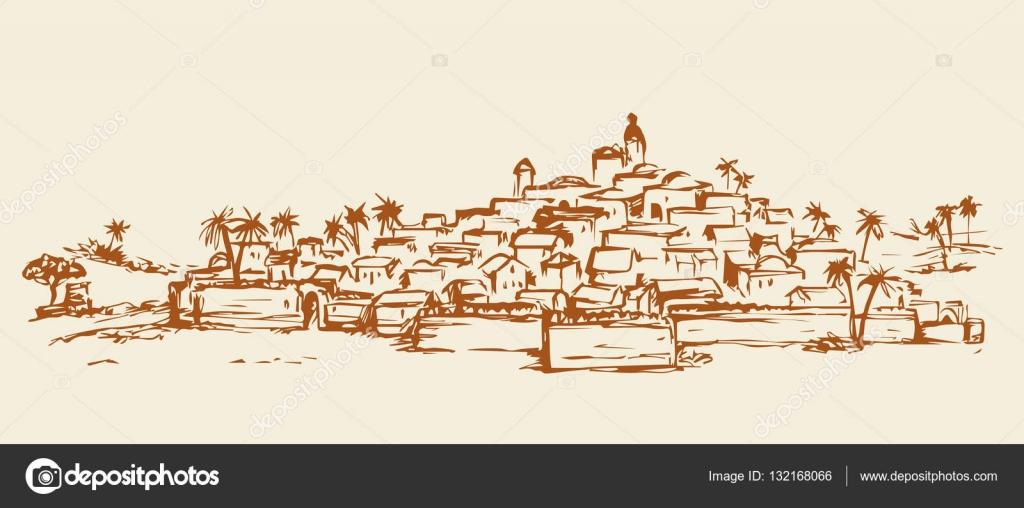 Cidade num deserto desenho vetorial vetores de stock marinka 132168066 for Dessin ville orientale