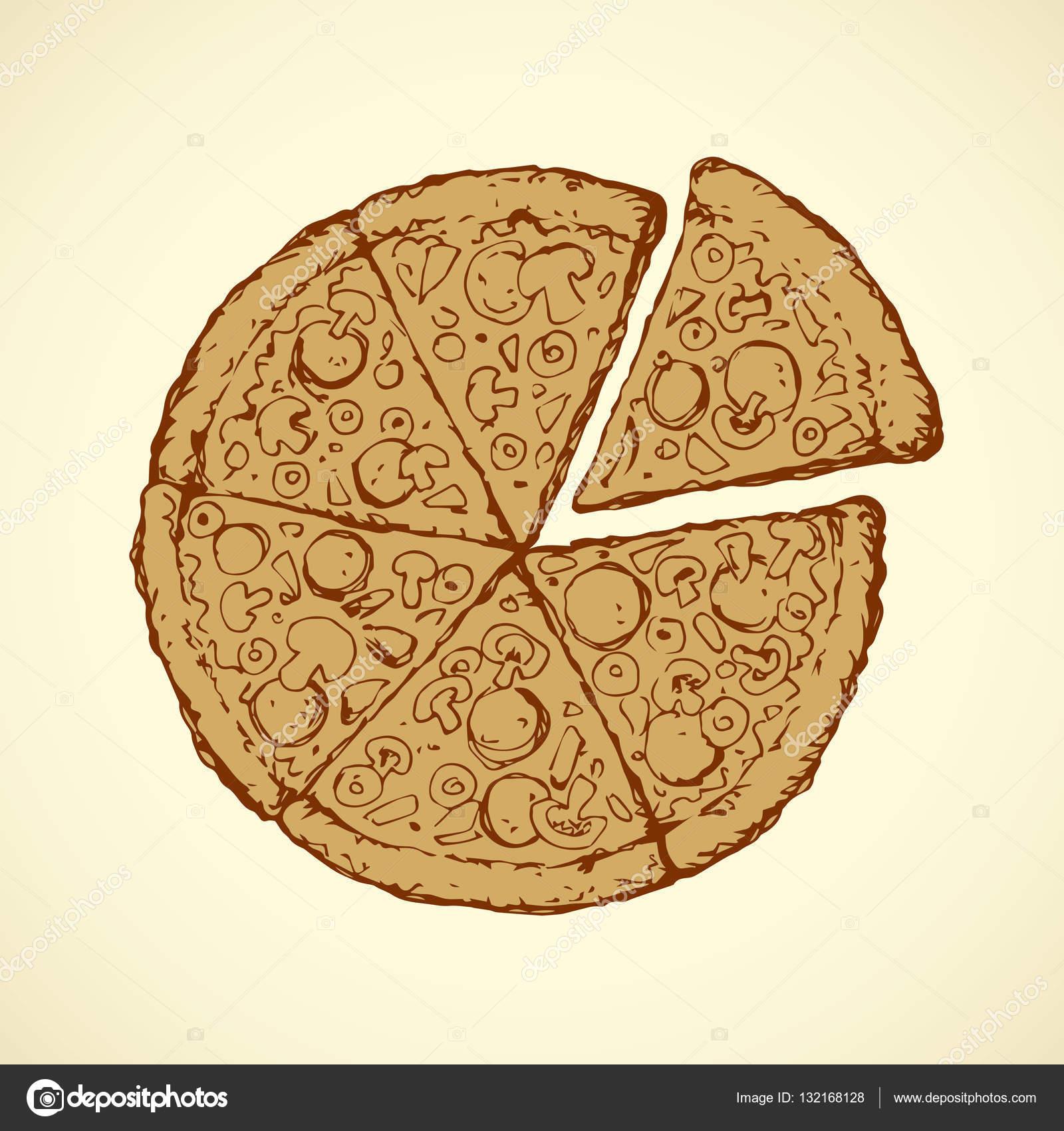 Pizza. Dibujo vectorial — Vector de stock © Marinka #132168128