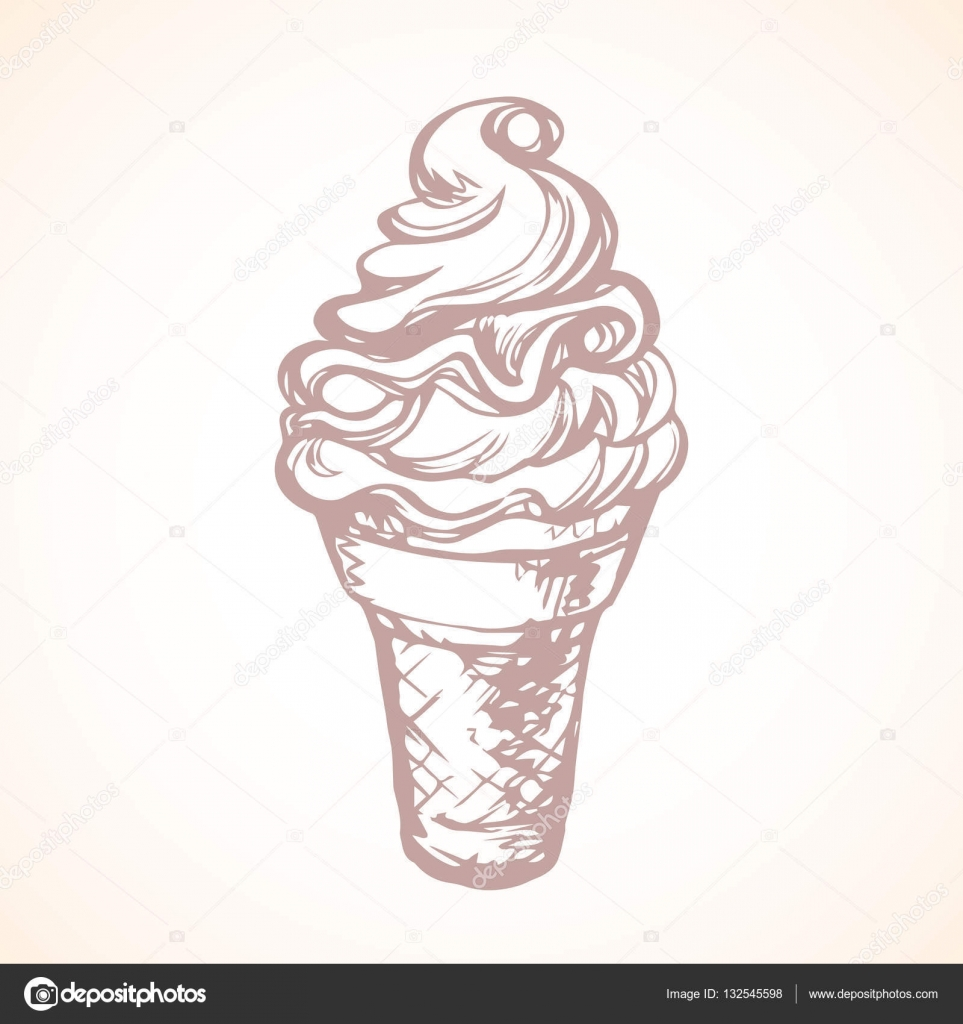 Ice Cream Vector Drawing Stock Vector Marinka 132545598