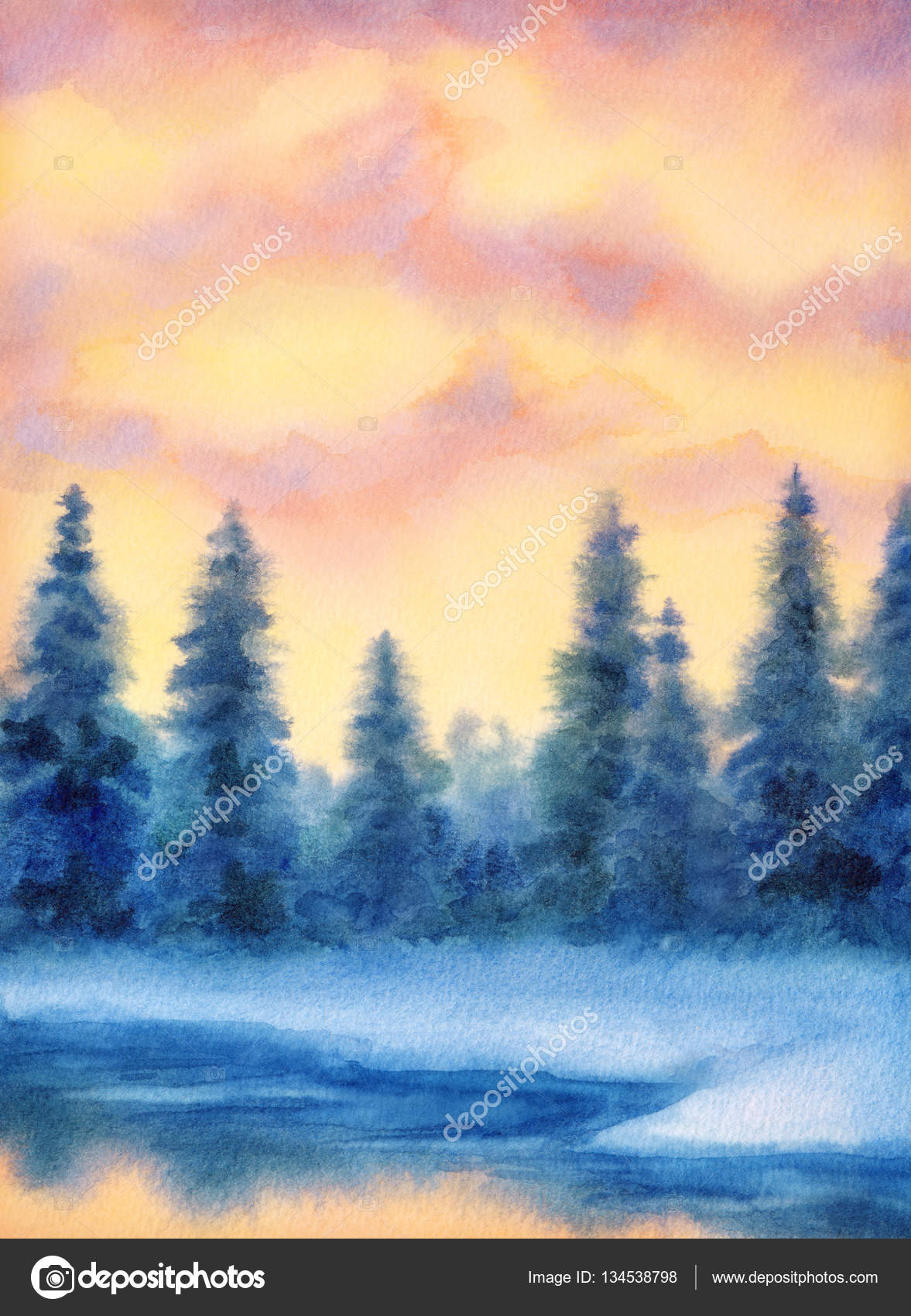 Aquarel Landschap Winter Forest Stockfoto C Marinka 134538798
