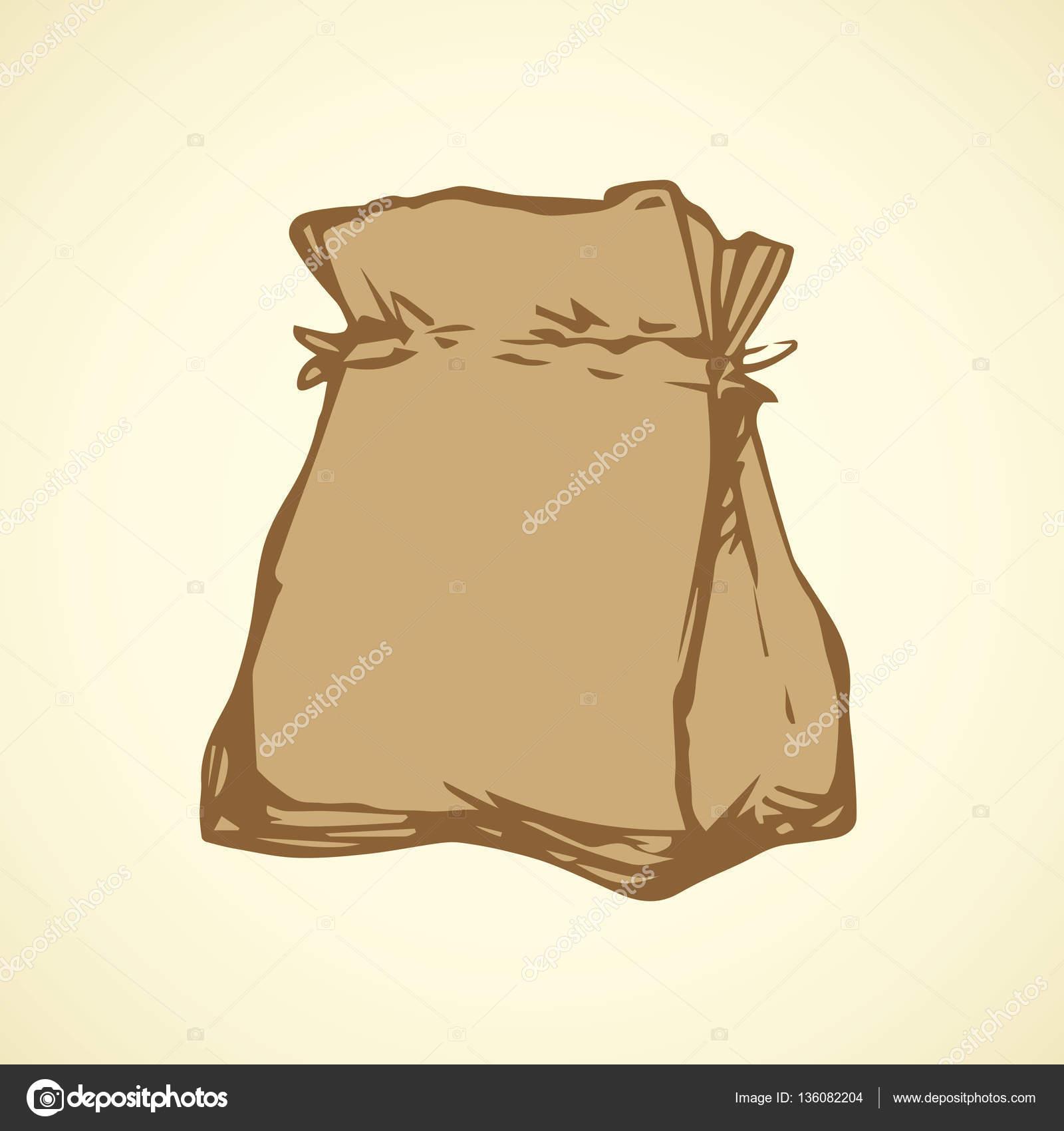 Paper bag sketch - Paper Bag Vector Drawing Stock Vector 136082204
