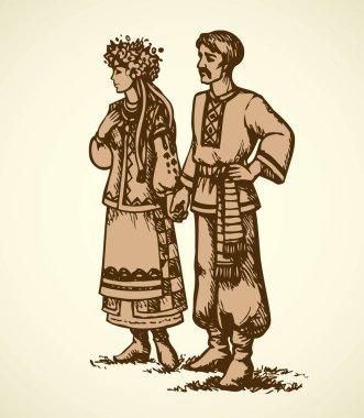 Young couple in Ukrainian national dress. Vector sketch