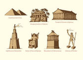 Fotografie Vector symbols of The Seven Wonders of Ancient WORLD