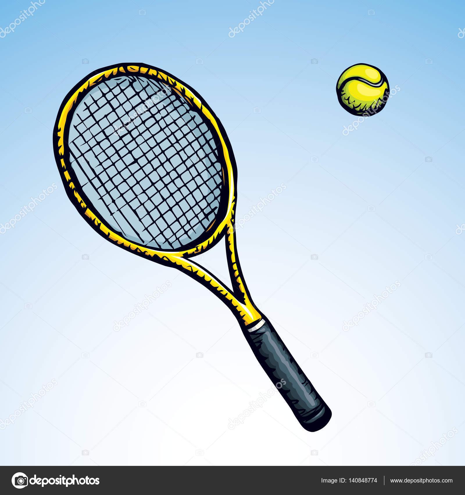 Tennis Racket And Ball Vector Drawing Stock Vector C Marinka