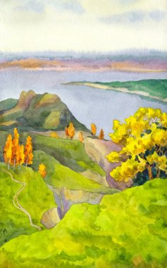 Autumn Hills. Watercolor sketch