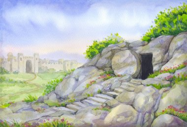 Open empty tomb. Watercolor painting