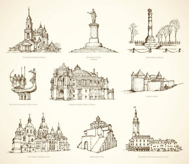 Ukrainian famous historical monuments. Vector sketch