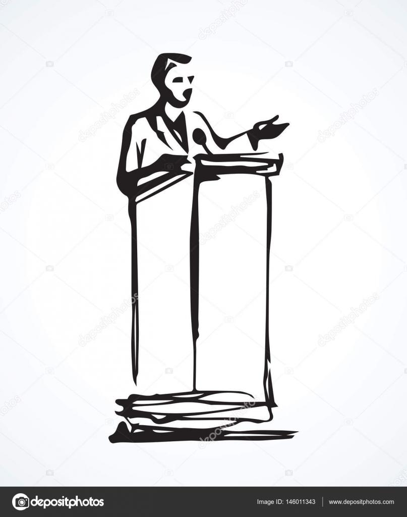 Ponente en el podio dibujo vectorial vector de stock - Dessin podium ...