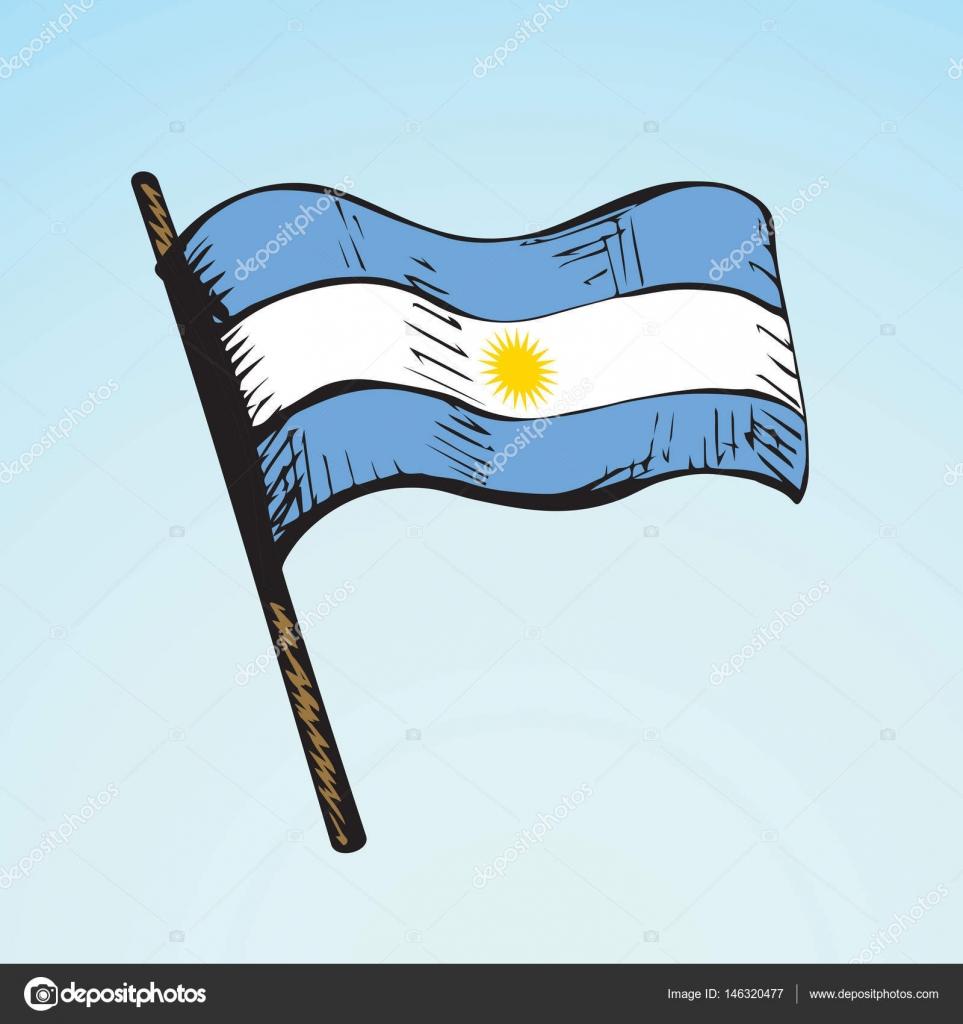 Bandera Argentina Con Mastil Dibujo De La Bandera Dibujo