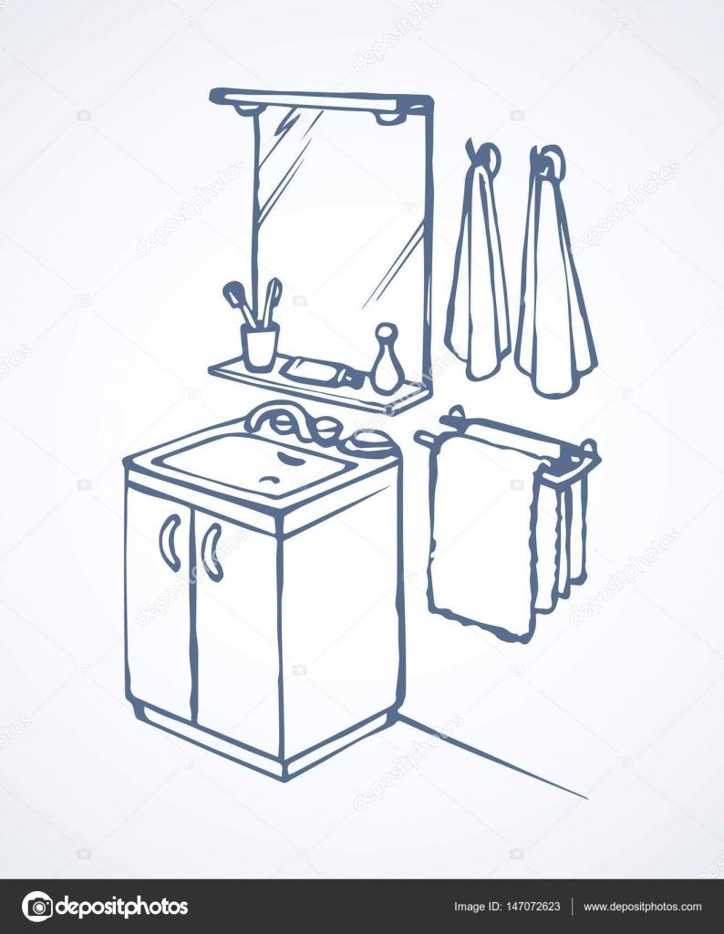 Tükör felett mosdó a fürdőszobában. Vektoros rajz — Stock Vektor ...